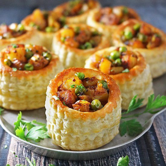 Spiced Potato Puff Pastry Baskets