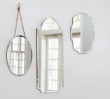 Eleanor Frameless Mirrors #potterybarn large rectangular mirror - half bathroom 99.00