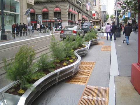 The parklet concept: as intriguing, if not more so, for suburban/shopping center parking lot application (Parklet Planter - San Francisco)