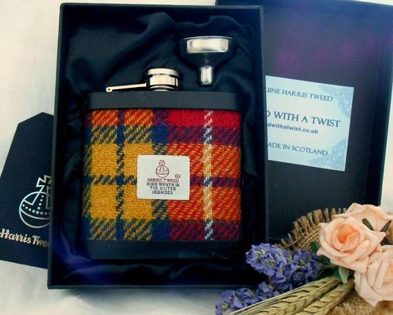 Buchanan Tartan Harris Tweed hip flask mens gift made in