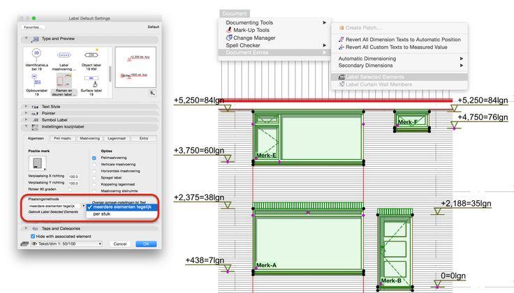 Het Ramen en deurenlabel moet in ARCHICAD 19 net iets anders worden geplaatst dan in oudere versies. 1. Je kunt Ramen en Deuren tegelijkertijd selecteren in je aanzicht. 2. Stel het Label in op de gewenste manier via Label Default Settings 3. Zorg ervoor dat bij plaatsingsmethode de optie 'meerdere elementen tegelijk' is gekozen 4. Ga -met de Ramen en Deuren nog steeds geselecteerd- naar Document > Document Extras > Label Selected Elements