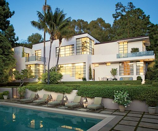 Delores Del Rio and Cedric Gibbons L.A. Home. One of my fave Art Deco homes by Architect Douglas Honnold. Architectural Digest, 3/08