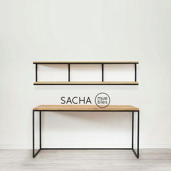 escritorio / mesa / en hierro y madera: