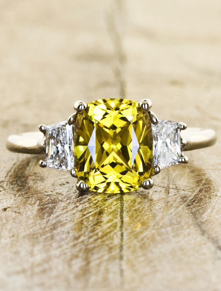 Yellow sapphire engagement ring by Ken & Dana Design