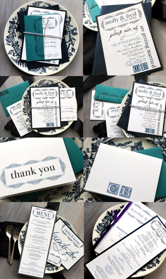 Navy and Teal Wedding Invitation Navy Blue Wedding by BeaconLane