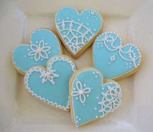 Blue Lace Heart Cookies