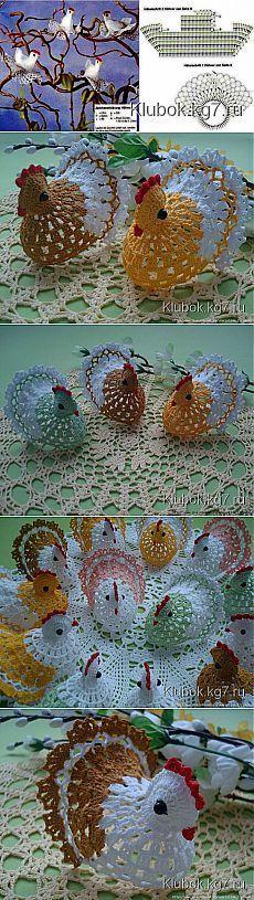 Пасхальные зайчики и пасхальные курочки - схема вязания фото