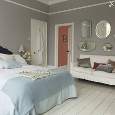 Dulux: Potters clay 2 & pure brilliant white- More grey! Love the coral/pink peeking through from the hall