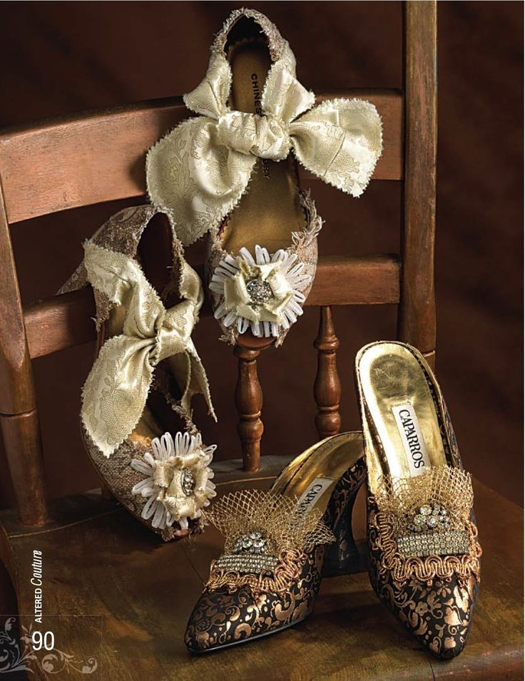 'Marie Antoinette' and 'Lamé' Shoes  Shoes by Pat Berryhill. Image courtesy of 'Altered Couture' magazine, February-April 2009