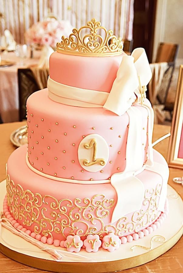 ADORABLE PINK + GOLD CAKE. Would be cute with baby's initial instead of the 1