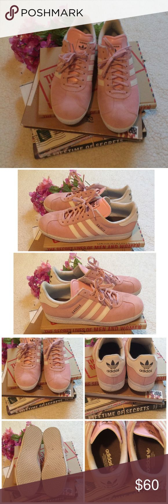 Pink Adidas Gazelles Pink Gazelles-worn once. Amazing condition and a soft pink color. Size says 7 but would also fit 7.5. Comfortable sneaker is perfect for a night out or a fun weekend trip.  There are a couple spots on the suede that have darker spots (they wouldn't show up in the picture because they are slight). Adidas Shoes Sneakers