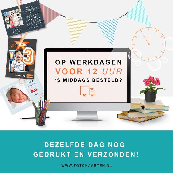 Supersnelle levertijd bij www.Fotokaarten.nl  Als je op werkdagen voor 12 uur besteld, zijn de kaarten dezelfde dag nog gedrukt en verzonden!