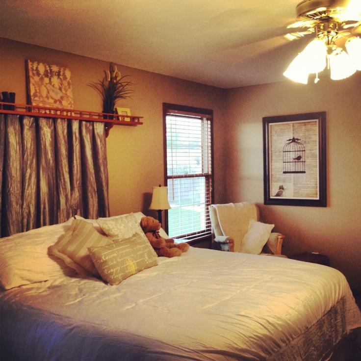 "DIY ""headboard"" ~nick nack shelf, shower curtain rod and curtains. :)"