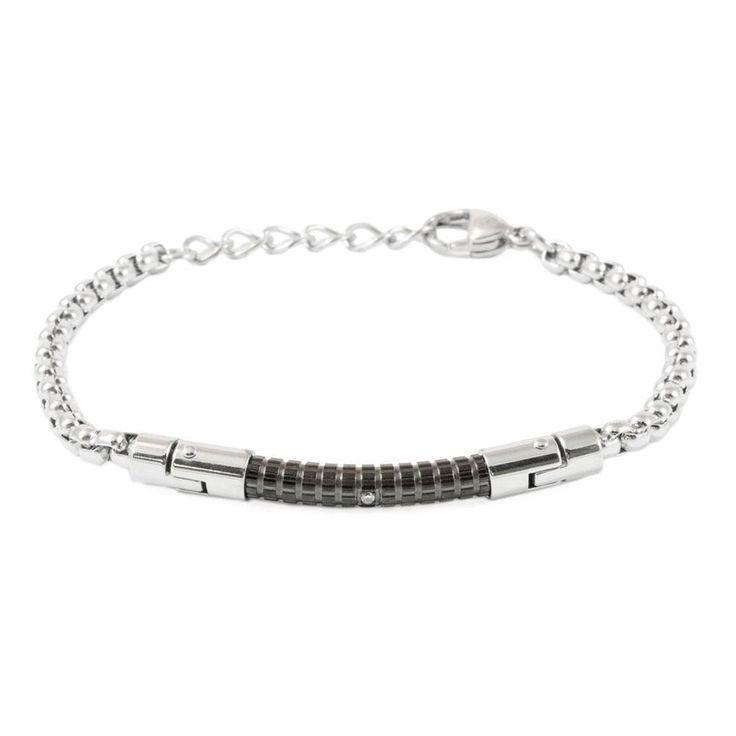 Silver Stainless Steel Chain Black ID Bar Bracelet