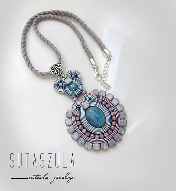 Boho blue jeans pastel gray necklace soutache OOAK statement necklace Soutache blue pastel powder blue Necklace made soutache embroidery technique. Made of: Soutache, glass beads, jadeit stone. seed beads. Back is made of thin suede. Adjustable circuit – about 38-42 cm (14,96-16,54) Soutache element size 9 cm x 5,5 cm One of a kind pendant