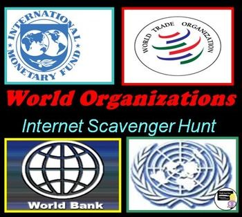 """For the activity students will be assigned one of the World Organizations to research (websites are listed) and will have to teach their group members about their organization. This Power Point includes detailed directions for the students and a review of the World Organizations mentioned in the objective. It also includes pair-share's, pictures, political cartoons, transitions and a review game, """"Which One Is It?"""" where students will have to identify which organization is described"""
