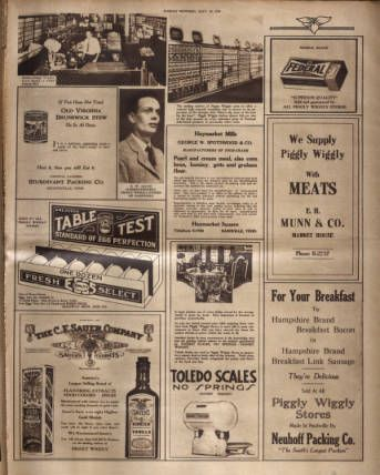 Full page promoting Piggly Wiggly grocery store. Nashville Tennessean, 1928 September 30. :: Picturing Nashville in Rotogravure, 1926-1933