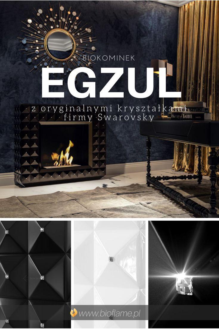 Biokominek portalowy Egzul z Kryształkami Swarovski (w kolorze czarnym lub białym).  https://www.bioflame.pl/produkt/biokominek-portalowy-egzul-z-krysztalami-swarovskiego/