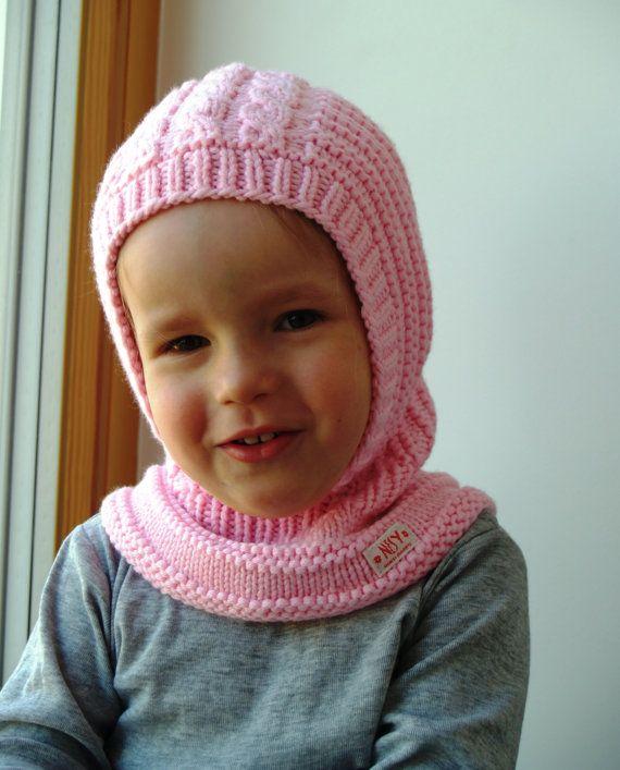 LISTO a NAVE 6-12m, los tamaños 6-10y! Sombrero de pasamontañas de lana de Merino, con capucha de bebé/niño pequeño sombrero, sombrero rosado y Braga cuello. por NesyBaby