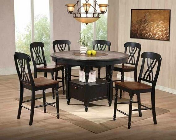 US Furniture 7 Pc. Black And Cherry Wood Finish Round Counter Height Table  Set With