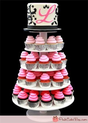 Sweet 16 Cupcake Tower.  This is a great idea, but in Tiffany Blue instead of pink.