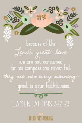 French Press Mornings Print - Lamentations 3:22-23 #encouragingwednesdays #fcwednesdaywisdom #quotes