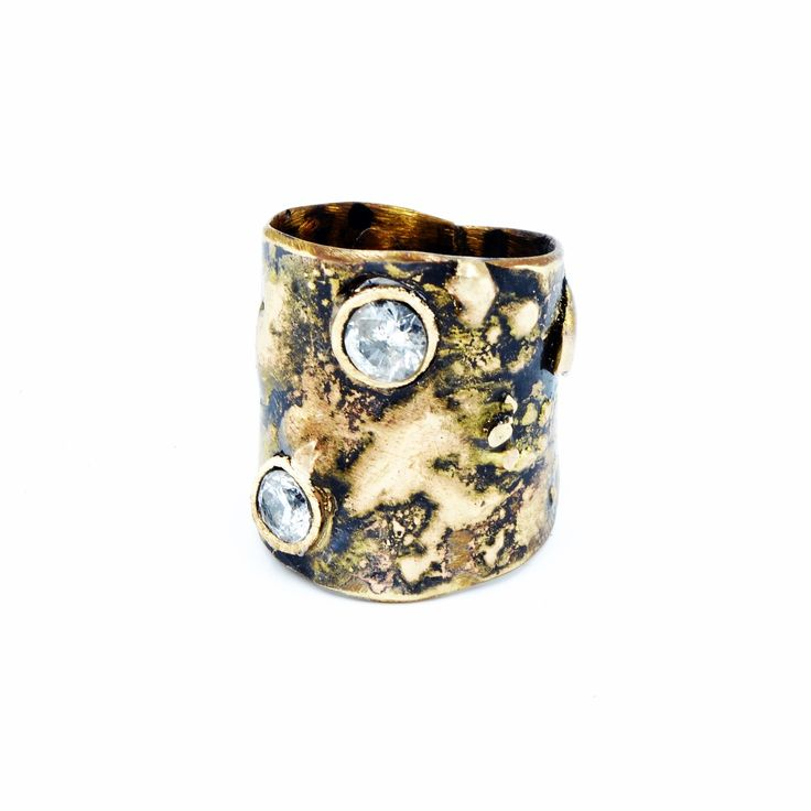 Contemporary Jewelry: Brass and 24k Gold wide band ring, set with client's own diamonds