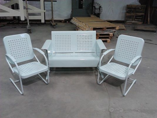 Powdercoated Vintage Metal Porch Glider Basketweave Pattern Set Loveseat  And Chairs