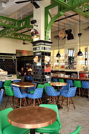 Interior space by Roman and Williams. John Dory Oyster Bar - Ace Hotel #Roman and Williams, #Ace Hotel