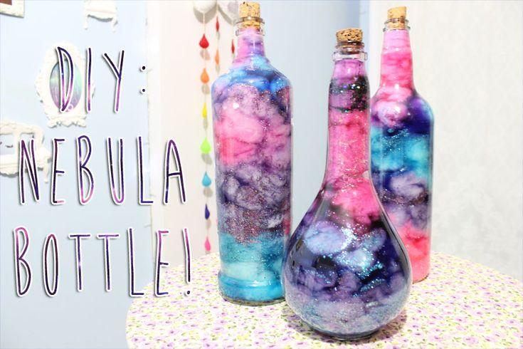 Bottle nebula || Corantes; Gliter, Água; Algodão, Garrafa de vidro