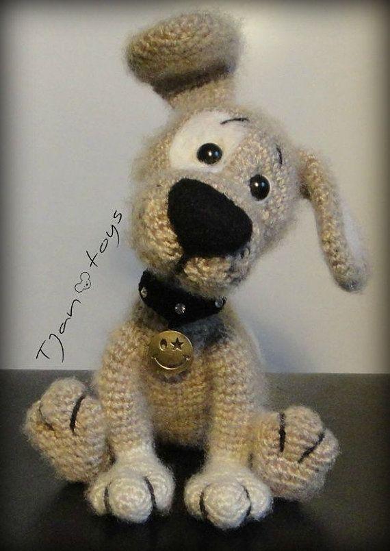Welpen OOAK Little Dog gefüllt Tiere häkeln Handmade Soft von Tjan, $55.00