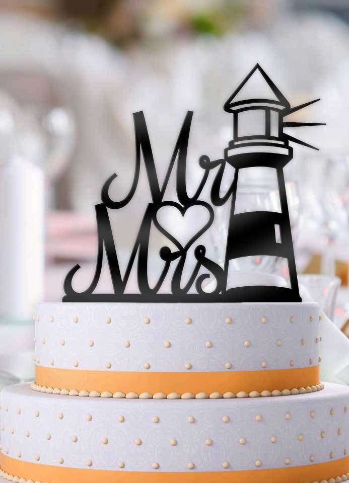 Nautical Lighthouse Mr And Mrs Cake Topper Cool Wedding Cakes