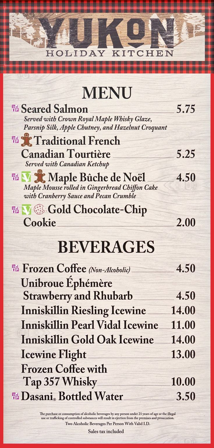 2018 Menu Board for the Holiday Kitchen in the Canada