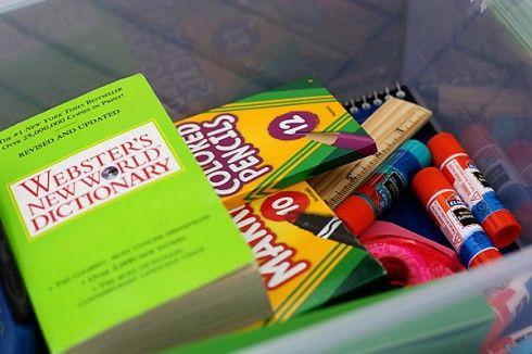 Pencils, paper, and more go into #Walmart Mom Tara's homework box.