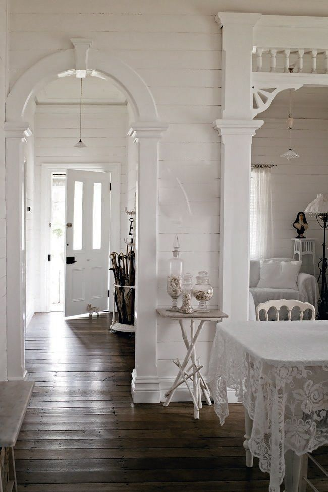 I am loving this woodwork! Such charm, such character. And the white is beautiful. It makes a lovely backdrop for color.