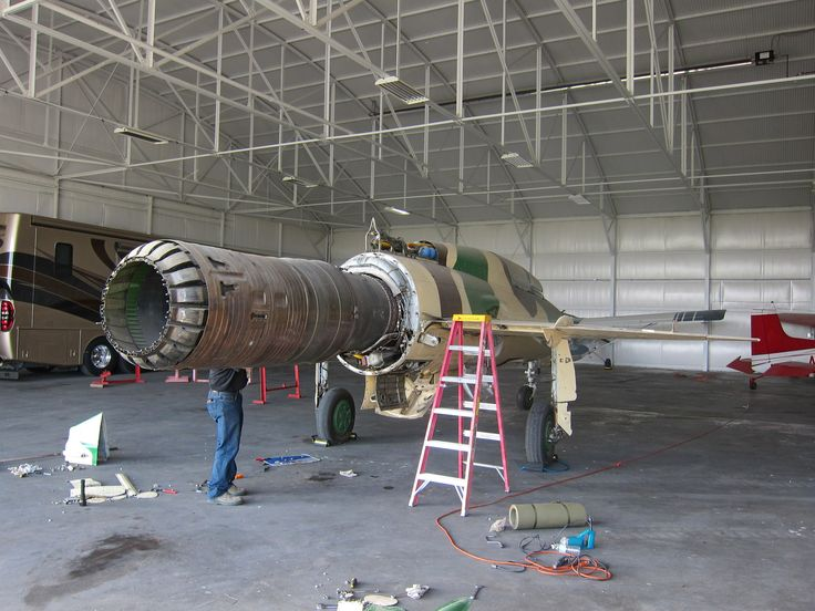 A MiG-21UM in the hangar, in Perth, Western Australia her owner, Adrian Deeth, is a aviation enthusiast.