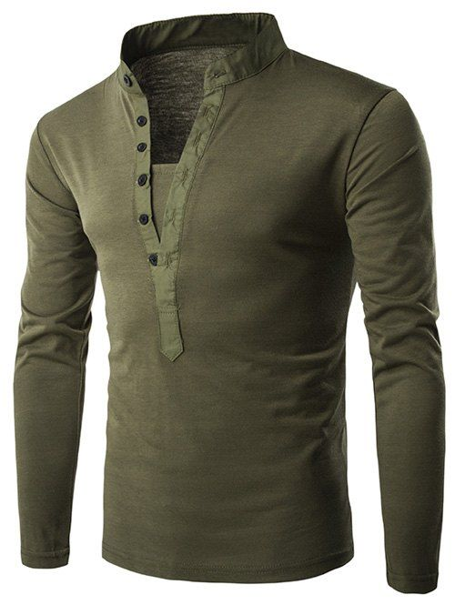 Long Sleeve Grandad Collar Button T Shirt - ARMY GREEN XL