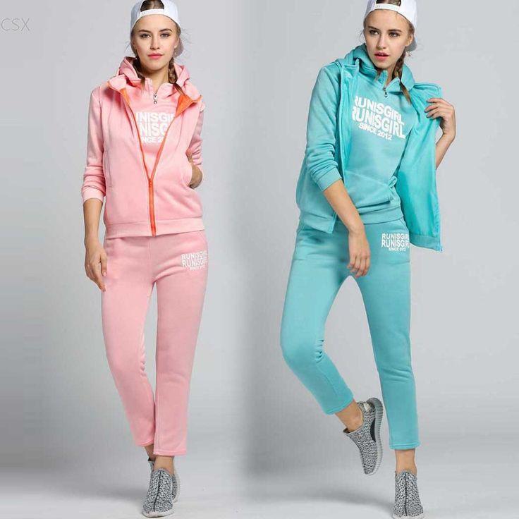 2016 New Women's Autumn Stylish Hoodies Suit Thickening Leisure Hoodie + Pant + Vest 3pcs Woman's Clothing Sets Sweatshirts #Affiliate