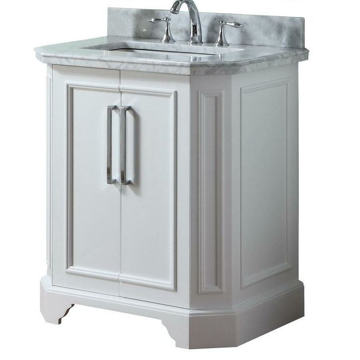 allen roth vanity is perfect for an all white traditional bathroom