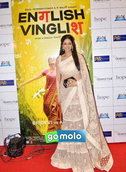 Bollywood Actress Sridevi   Premiere of Hindi movie 'English Vinglish' at PVR Cinemas, Goregaon in Mumbai