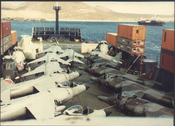 RAF GR3 and NAS FRS1 Harrier's aboard the ill fated Atlantic Conveyer during the Falklands War 1982