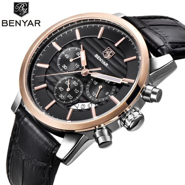 Reloj Hombre Benyar Leather Men's Watch at https://stylishfather.com/collections/watches/products/reloj-hombre-benyar-fashion-mens-watch