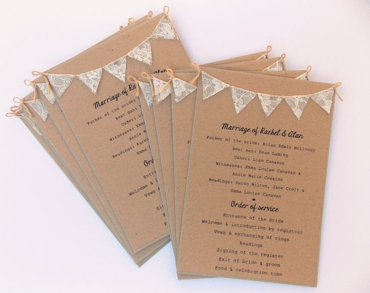 Order of Service Cards Rustic wedding Kraft by FromLeoniWithLove