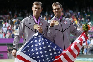Americans Bob and Mike Bryan won an Olympic gold medal and completed a career Golden Slam by winning the men's doubles on Saturday, August 4, 2012 by beating Jo-Wilfried Tsonga and Michael Llodra of France 6-4, 7-6 (2). The American twin brothers,three-time Olympians, won a bronze medal in Beijing in 2008. They've won 11 major titles and finished 2011 ranked as the No. 1 doubles team for the seventh time in nine years.