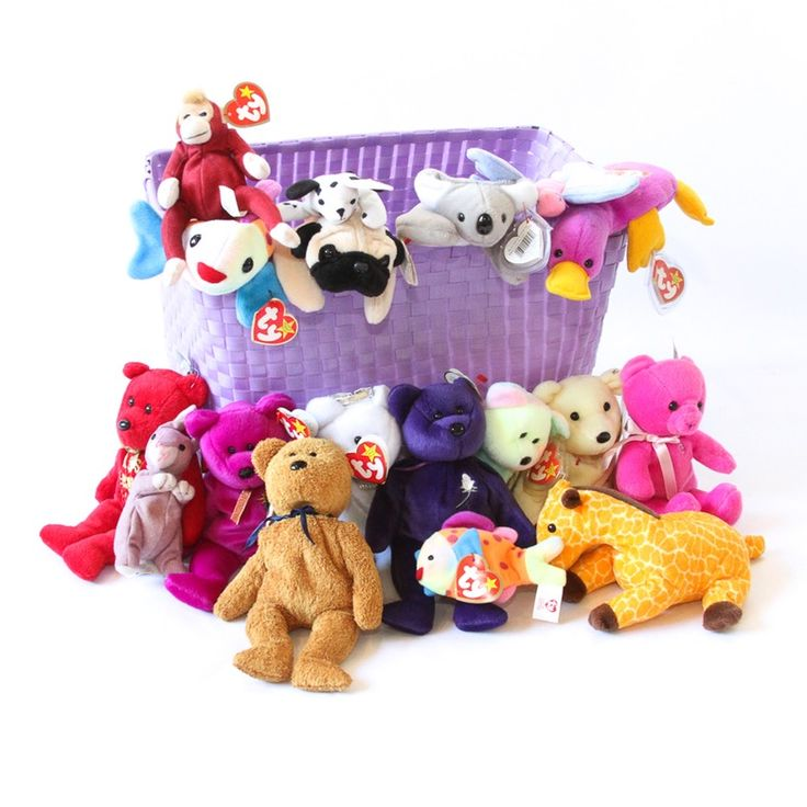 A collection of Beanie Babies including Patti the Platypus and the Princess Diana Bear. The grouping contains eighteen Ty Beanie Babies and Ty Teenie Beanie Babies. The Teenie Beanie Babies were produced for McDonald's in the late 1990s. In addition to the names mentioned above, this lot includes Mel the Koala, Pugsly the Pug, Twigs the Giraffe and more.