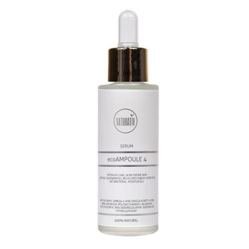 Naturativ- Serum Eco Ampoule 4 til acne  og rosacea hud  Skal bruges inden cremen eller uafhængigt.   Bruges om dagen eller om natten.   Lindrer acne og rosacea udbrud i huden, har antibakterielle og Sebo regulerende egenskaber.   Forbedrer vævsregeneration, beskytter mod UV-stråling og har antioxidative egenskaber.   For hud med rosacea, anbefales det at bruge både ecoAmpoule til acneic hud og ecoAmpoule til hud med forstørrede kapillærer. Vejl udsalgs pris 300,00