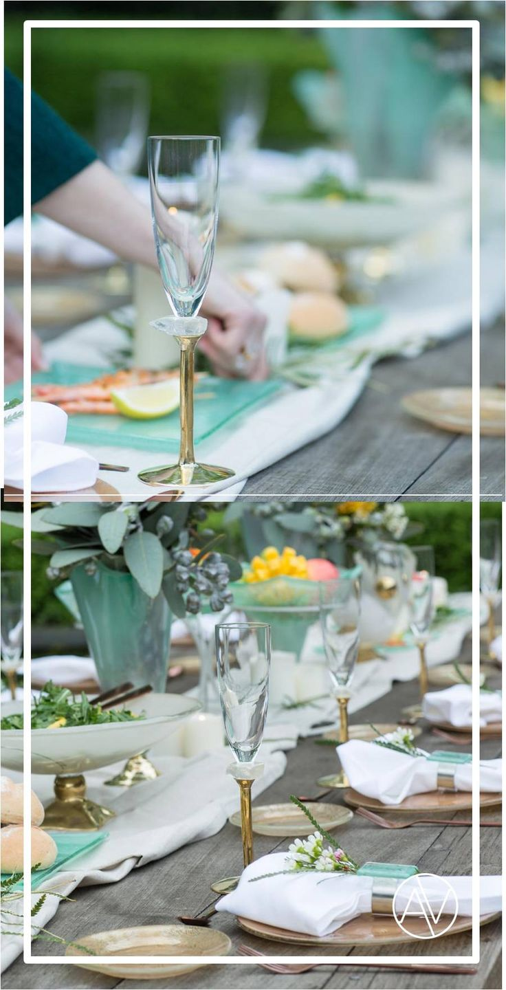 Table centrepieces in elegant mint gold palette