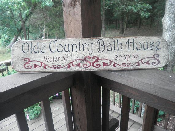 Wood Bathroom Sign Primitive White Washed With Distressed Lettering
