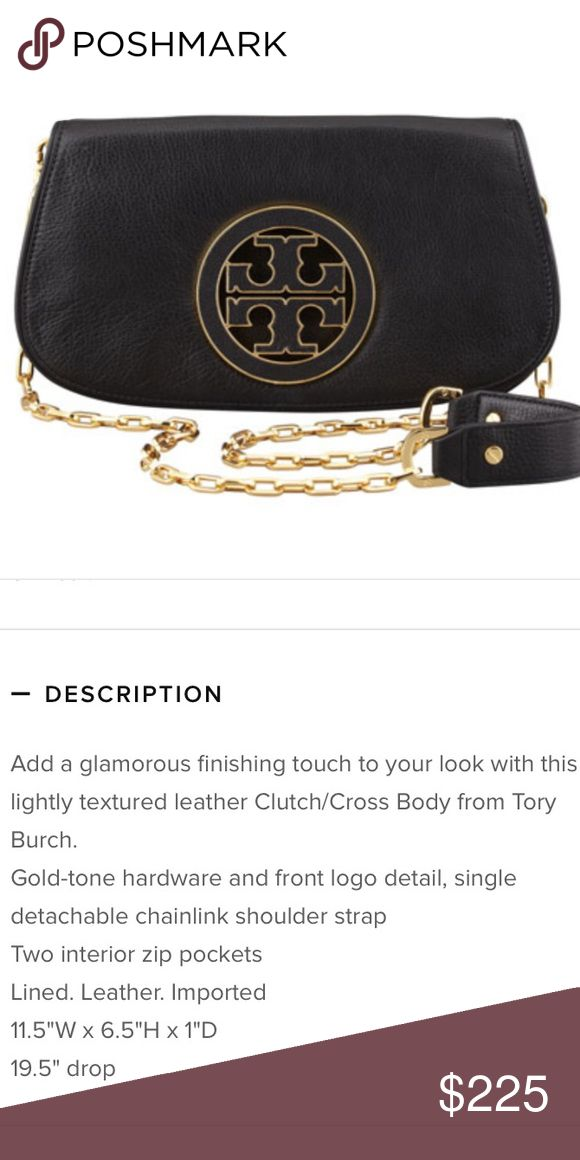 Tory Burch Amanda Logo Clutch Used, inside shoes that it's a used clutch, however excellent condition on the outside. Comes with dust bag. Tory Burch Bags Crossbody Bags