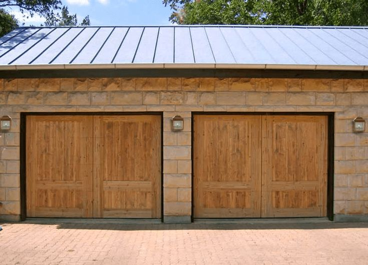 Cedar wooden double garage door design